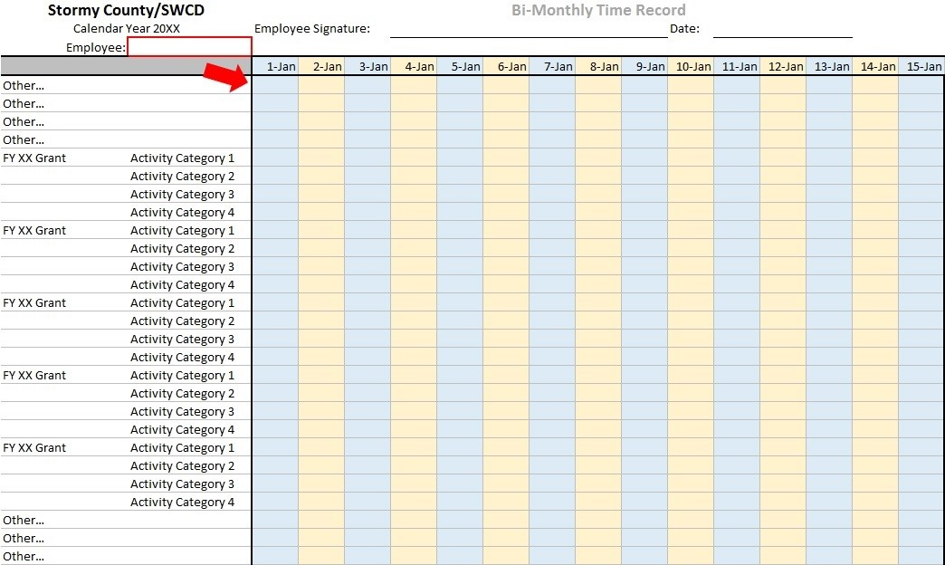 Figure 1:  Bi-Monthly Time Tracking System, Grants and Activities in Rows.