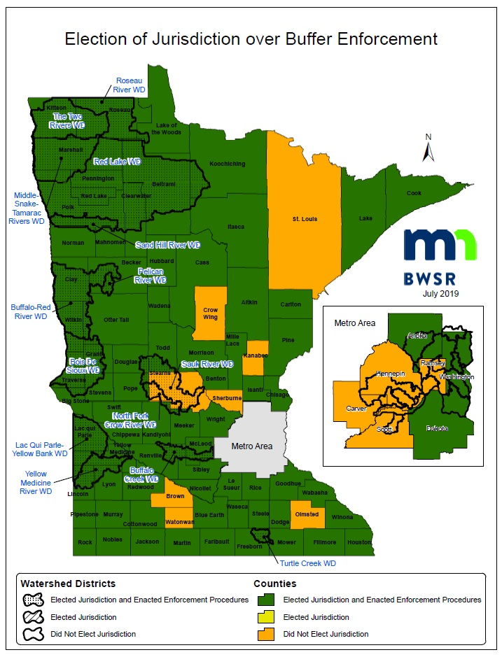 Map of  and Watershed Districts Electing Jurisdiction of Buffer Law Enforcement