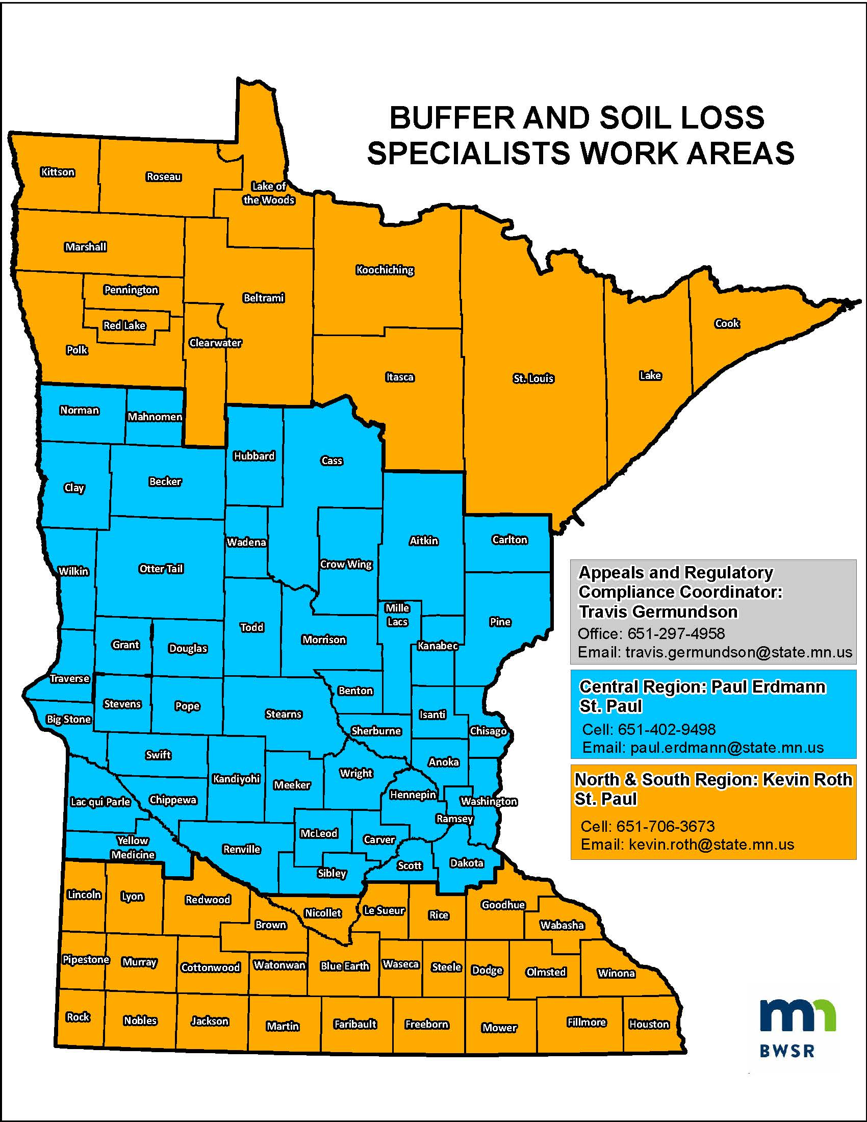Buffer and Soil Loss Specialist Work Areas as of January 2021