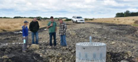Becker SWCD staff visit the project site with landowner Bill Steffl